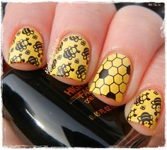 A Girl and Her Polish: The Nail Challenge Collaborative Presents: Stamping - Bees