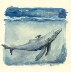 Whale Painting Original Watercolor Illustration Wall von olgaonga