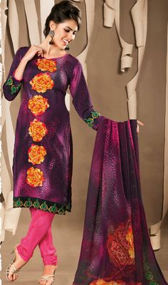 Eggplant and Pink Georgette Churidar Suit Enthrall your onlookers in this eggplant and pink georgette churidar suit. The lovely floral patch and stones work a intensive attribute of this attire. #PlusSizeAnarkaliChuridarSuits #ChuridarSuitsOnlineIndia