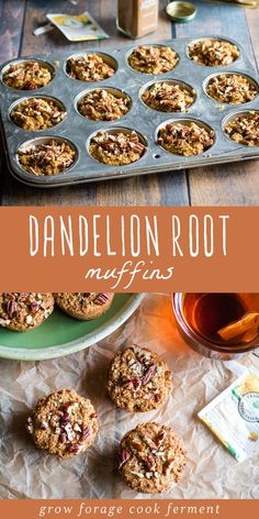These paleo and gluten free dandelion root muffins are delicious and healthy! These muffins are made with roasted dandelion root tea. Diabetic Snacks, Healthy Snacks For Diabetics, Healthy Dinner Recipes, Baking Recipes, Whole Food Recipes, Breakfast Recipes, Yummy Recipes, Dandelion Recipes, Cooking