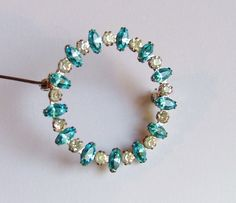 Sterling silver with turquoise and clear by PittiVintage on Etsy, $12.00