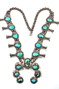 LUST! Squash Blossom Necklace Navajo Sterling Silver Turquoise – Yourgreatfinds...