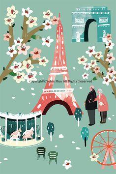 Romantic Paris,travel, traveling, trip, tour, journey,illustration,illust,illustrator,france,Eiffel Tower,triumphal arch,merry-go-round