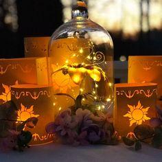 Tangled Birthday, Tangled Wedding, Tangled Party, Wedding Disney, Disney Wedding Centerpieces, Lantern Centerpiece Wedding, Wedding Lanterns, Wedding Themes, Wedding Ideas