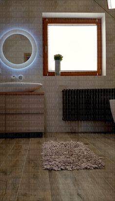 wood hexagonal tiles bathroom round mirror