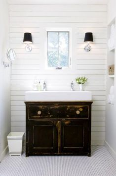Modern Farmhouse Style, A modern farmhouse style with wood planked walls, trough sink, and simple hex tile floors, Our master bath. We preferred the natural light over the typical mirror. A swing-arm vanity mirror does the trick. Simple classic hex tile & wood planking. The trough sink worked perfectly on an antique cabinet we used as a dining buffet in our previous home, Bathrooms Design.