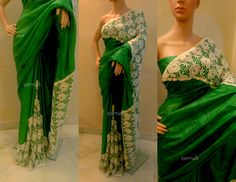 Green Tussar silk cutwork lace designer saree