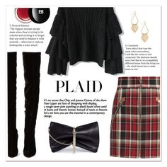 """""""Check It: Plaid"""" by ladydzsen ❤ liked on Polyvore featuring rag & bone, Christian Louboutin, Jimmy Choo, Chicwish, Edward Bess, black, red and plaid"""