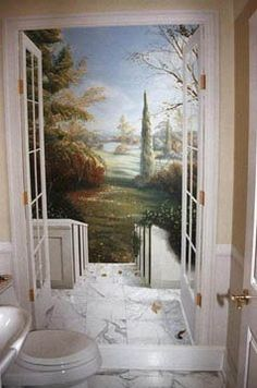 Trompe l& powder room mural. Faux Painting, Mural Painting, Tole Painting, Mural Art, Wall Murals, Wall Art, Paintings, Bathroom Mural, Small Bathroom