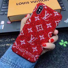 lv supreme iphonexケース キラキラ ヴィトン シュプリーム iphone8/7plusカバー デコ 赤 クール