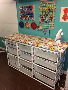 Ironing storage table for sewing room