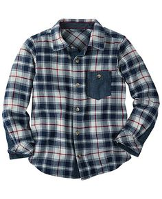 Lappland Flannel Shirt from HannaAndersson for your son! Pair with his favorite jeans and sweater over it unbuttoned! You'll see it has the maroon color to go with your daughters but brings in a navy for an additional pop of color to go with your hubby!