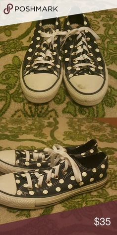 Navy blue and white polka dot converse Great condition.  Only worn once. Only has one small scuff on the toe of the left shoes that can be cleaned. Converse Shoes Sneakers