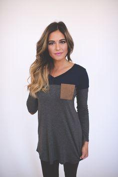 Dottie Couture Boutique - Color Block Tunic- Navy/Charcoal, $32.00 (http://www.dottiecouture.com/color-block-tunic-navy-charcoal/)