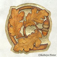 Letter C by Kathryn Finter. Based on carved design from a misericord (wooden ledge attached to a hinged church seat).