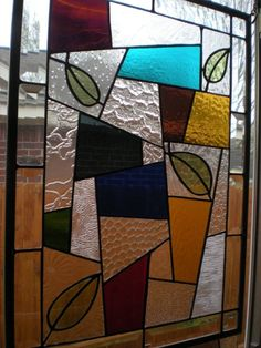 """Blown Leaves Stained Glass Window Panel 15"""" x 21 1 2"""" 
