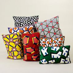 """Cushions from the """"Wrong for Hay"""" home capsule collection with prints inspired by African wax fabric. Designed by Nathalie Du Pasquier African Interior, African Home Decor, Nathalie Du Pasquier, Designers Gráficos, Decoration Inspiration, Textiles, Printed Cushions, Embroidered Cushions, African Design"""