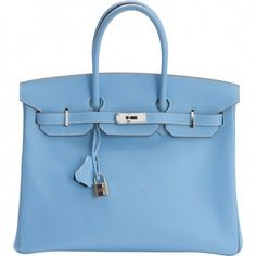 Birkin leather bag, carried in the hand or on the shoulder HERMÈS (46.705 RON) ❤ liked on Polyvore featuring bags, handbags, shoulder bags, hermes purse, leather purses, blue purse, genuine leather shoulder bag and 100 leather handbags