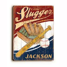Little Slugger   Decorate your child's room with vintage-inspired, customizable art by Artehouse. These cute, nostalgic painted signs make delightful graphic statements with finish and colors true to old-fashioned signage. Just redeem the vouchers in this sale to receive personalized works that add an intimate touch to your home.