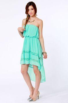 Cute Strapless Dress - Mint Dress - High-Low Dress - $35.00
