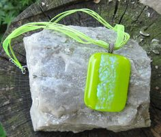 CLEARANCE SALE Lime Green NECKLACE Fused by DawnofCreationGlass, $14.00