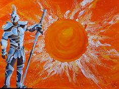 Sonnenkrieger, Acryl auf Leinwand, Glanzfirnis, 100cm x 70cm