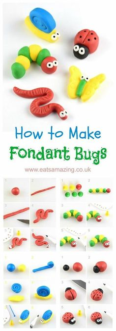 How to make easy fondant bugs for cake decorating and cupcake toppers - step by step photos from Eats Amazing UK cupcakes decoration hochzeit ideas ideen recipes rezepte cupcakes cupcakes cupcakes Bug Cupcakes, Cupcakes Cool, Birthday Cupcakes, Cupcake Cakes, Baking Cupcakes, Simple Cupcakes, Lemon Cupcakes, Strawberry Cupcakes, Easy Fondant Cupcakes