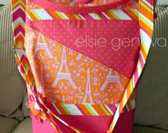 Pink Orange Eiffel Tower Paris Huge Large Travel  Tote Bag Dots Bow Button Includes Personalized Key Chain or Choose Any Fabric