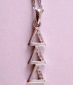 Delta Delta Delta (Tri Delta) Vertical Silver Pendant, Charm, Lavalier (DD-004) | eBay