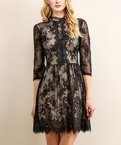 Love this Soiéblu Black Floral Lace Cutout Fit & Flare Dress by Soiéblu on #zulily! #zulilyfinds