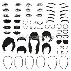 Woman face parts, eye, glasses, lips and hair. Vector set — Illustration #108415856