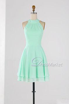 Mint green high collar homecoming dress,Knee length wedding party dress,Simple chiffon bridesmaid dress,short summer dress,DressMarket053