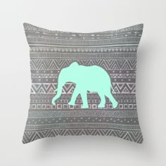 """Mint Elephant"" Throw Pillow by Sunkissed Laughter on Society6."