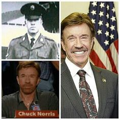 """Carlos Ray """"Chuck"""" Norris (born March 10, 1940) is an American martial artist and actor. He joined the United States Air Force as an Air Policeman in 1958 and was sent to Osan Air Base, South Korea. It was there that Norris acquired the nickname Chuck and began his training in Tang Soo Do, an interest that led to black belts in that art and the founding of the Chun Kuk Do (""""Universal Way"""") form. Norris was discharged in August 1962."""