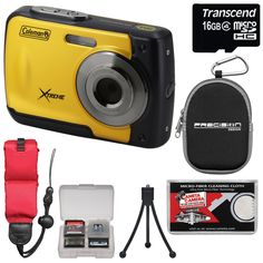 Coleman Xtreme C20WP Shock & Waterproof HD Digital Camera (Yellow) with 16GB Card + Case + Floating Strap + Tripod + Kit. KIT INCLUDES 7 PRODUCTS -- All BRAND NEW Items with all Manufacturer-supplied Accessories + Full USA Warranties:. [1] Coleman Xtreme C20WP Shock & Waterproof HD Digital Camera (Yellow) +. [2] Transcend 16GB microSDHC Card + [3] Precision Design PD-SDC Case +. [4] Floating Foam Camera Strap + [5] PD Flexible Table Mini Tripod +. [6] PD 8 SD Card Memory Card Case + [7]...