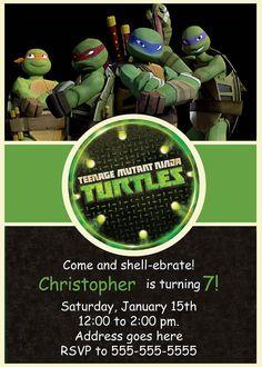 Ninja Turtles Invitation TMNT Invite Chalkboard Ninja Turtle