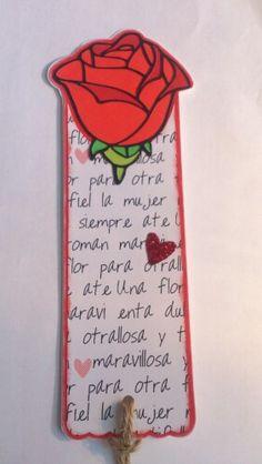 Punto de libro Sant Jordi. Diseño de papeles y rosa realizados por Creartelo.