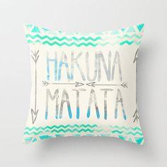 rebeccabender's save of Hakuna Matata Throw Pillow by Sara Eshak | Society6 on Wanelo