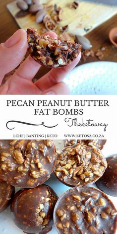 PECAN PEANUT BUTTER FAT BOMBS 1 cup of chopped pecan nuts 2 tablespoons melted coconut oil 1 tablespoon melted butter 1 tablespoon sugar free peanut butter 1 tablespoon cocoa powder a pinch of stevia powder The Keto way Keto Desserts, Keto Snacks, Dessert Recipes, Paleo Dessert, Recipes Dinner, Keto Sweet Snacks, Sweet Treats, Snacks Kids, Quick Dessert