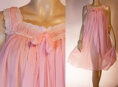 60's vintage nightdress. Stunning really sheer soft candy pink crystal pleated Perlon and white lace mid length nightgown nachthemd - 2723 on Etsy, Sold