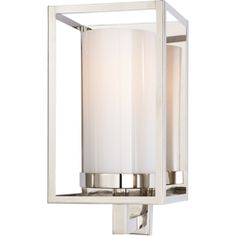 Chart House from Visual Comfort designed by Sandy Chapman Easterly Sconce in Polished Nickel with White Glass CHD2055PN-WG