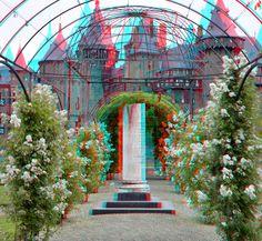 https://flic.kr/p/uNtdxe | Rozentuin Kasteel de Haar 3D | anaglyph stereo red/cyan. kasteel de Haar Utrecht 3D