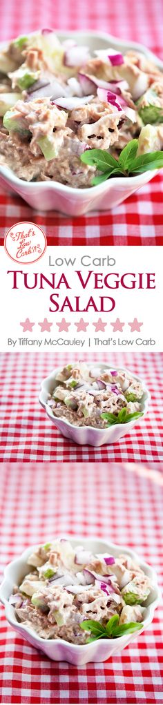 Traditional tuna salad, only better! It's low carb, has some veggies for flavor, texture and nutrition, and it's totally delicious! ~ http://www.thatslowcarb.com