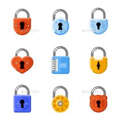 Padlock Flat Icons. Lock Vector Signs