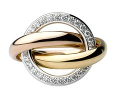 Cartier Trinity Crash ring - three gold bands (pink, white and yellow gold); the white-gold band is paved with diamonds.