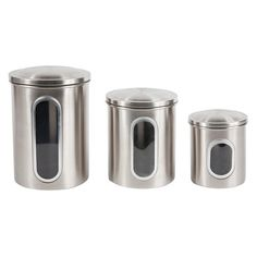 Great Threshold Stainless Steel Food Storage Canister Set w/Vacuum Seal Lid.  About $8.50 each or $25 for the set.