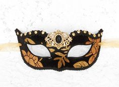 Black And Gold Masquerade Mask Velvet Covered by SOFFITTA on Etsy