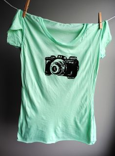 Vintage Camera T-Shirt,  Hand Dyed Pastel Aqua Green with Black Screen Print. Womens Medium. $28.00, via Etsy.