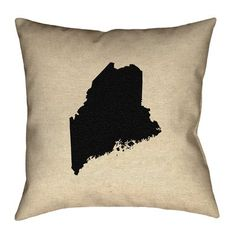 """Ivy Bronx Austrinus Maine with Concealed Zipper Throw Pillow Size: 18"""" x 18"""", Fill Material: Spun Polyester, Color: Black"""