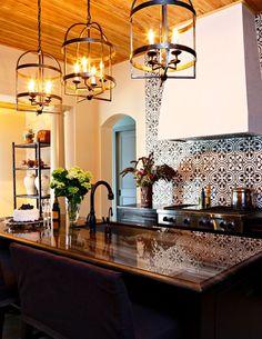 Beautiful geometric backsplash design with rustic kitchen. photo by Chancey Design